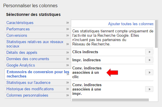 Conversions indirectes AdWords